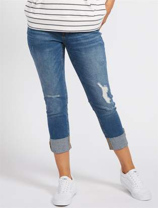 Motherhood Maternity BOUNCEBACK Destructed Post Pregnancy Cropped Jeans