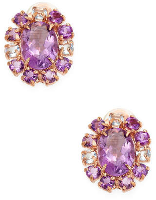 Bounkit 14K Rose Gold Plated Amethyst & Quartz Studs
