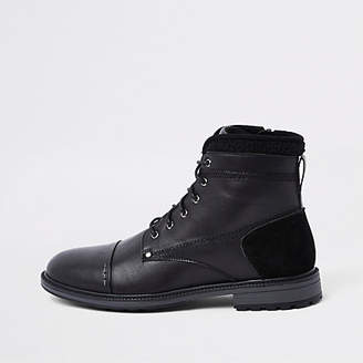 River Island Black fleece trim lace-up boots
