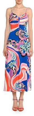 Emilio Pucci Strappy V-Neck Midi Dress