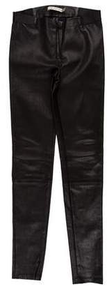 Alice + Olivia Low-Rise Leather Pants