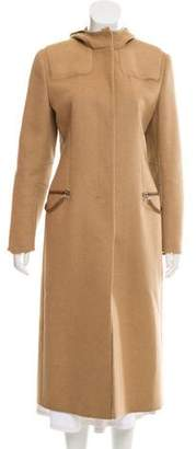 Prada Leather-Trimmed Camel Coat