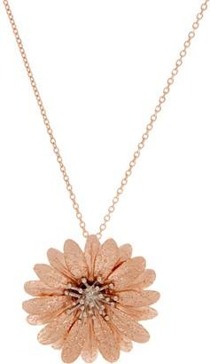 """Italian Silver Sterling Flower Pendant w/ 18"""" Chain"""