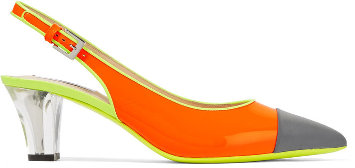 Moschino Moschino Neon glossed-leather slingback pumps