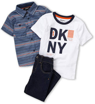 DKNY Toddler Boys) 3-Piece Short Sleeve Woven Shirt & Jeans Set