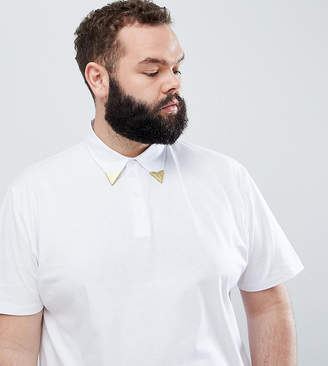 Asos Design DESIGN Plus relaxed polo shirt with western collar tips in white
