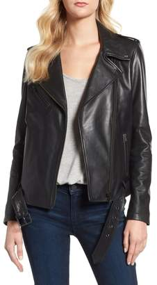 LAMARQUE Belted Leather Biker Jacket