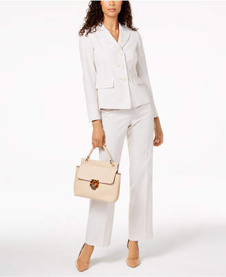 Le Suit Pinstriped Three-Button Pantsuit