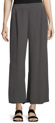 Eileen Fisher Crinkled Crepe Wide-Leg Pants