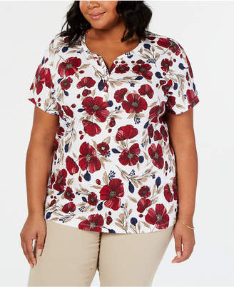 Karen Scott Plus Size Floral-Print Henley Top