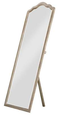 Emerald Home Interlude Sandstone Gray Standing Mirror with Arched, Distressed Wood Frame