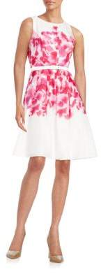 Tommy Hilfiger Belted Floral Fit-and-Flare Dress