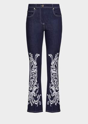 Versace Embroidered Baroque Flared Jeans