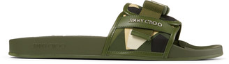 Jimmy Choo REY/M Army Mix Camo Print Nylon Sliders with Belt Detail