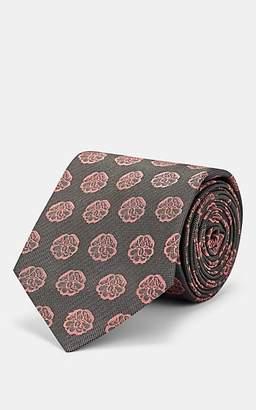 Alexander McQueen Men's Charm-Logo Silk Necktie - Gray
