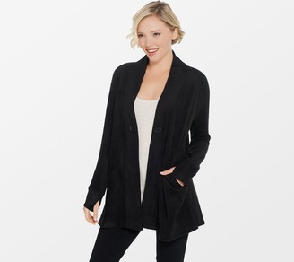 Cuddl Duds Fleecewear Stretch V-Neck Button Front Cardigan