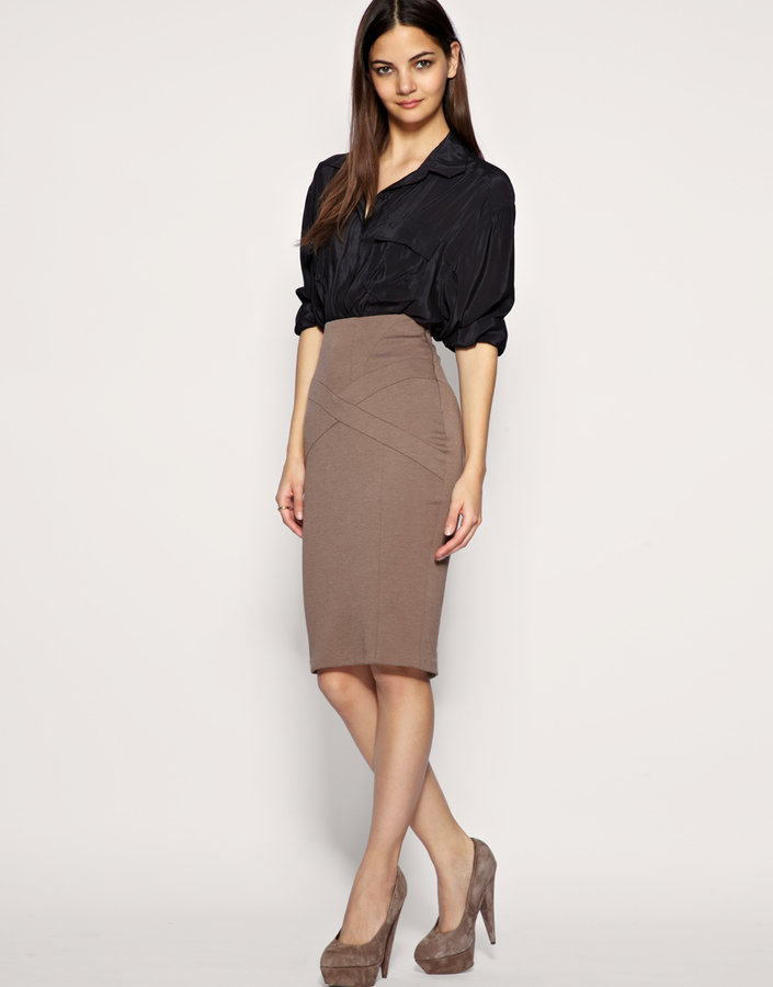 ASOS Tailored High Waist Seamed Ponti Pencil Skirt
