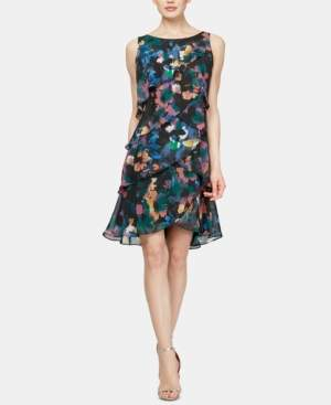 SL Fashions Floral-Print Tiered Shift Dress