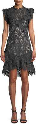 Saylor Mollie Painted Lace Cocktail Dress