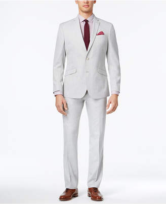 Kenneth Cole Reaction Men's Slim-Fit Light Gray Micro-Check Suit $375 thestylecure.com