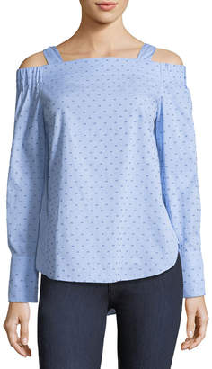 Derek Lam 10 Crosby Off-the-Shoulder Dotted Cotton Dobby Shirt
