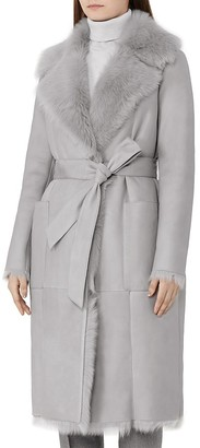 REISS Lennox Shearling Wrap Coat $2,435 thestylecure.com