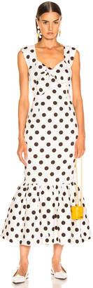 Rebecca De Ravenel Tie Front Tulip Dress in White & Chocolate Dots   FWRD