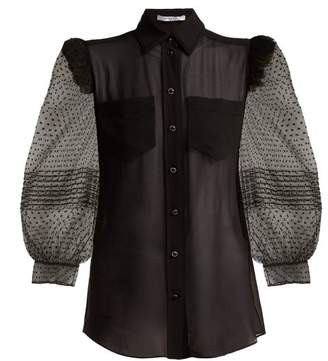 Givenchy Polka Dot Silk Blouse - Womens - Black