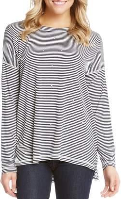 Karen Kane Stripe & Imitation Pearl Long Sleeve Tee