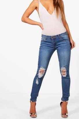 boohoo Petite Distressed Rip Knee Skinny Jean