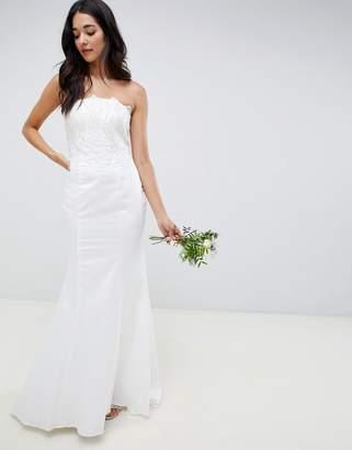 Little Mistress bandeau wedding dress with sequin detail