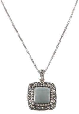 Lord & Taylor Sterling Silver And Marcasite Jade Square Pendant