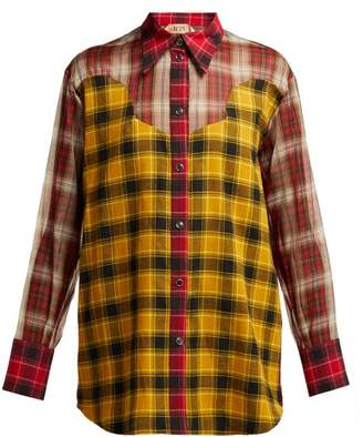 No.21 No. 21 - Checked Silk Insert Cotton Shirt - Womens - Red Multi