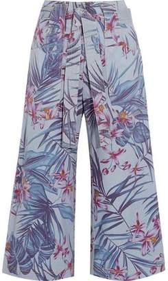 Suno Floral-Print Denim Culottes
