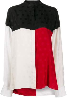 Haider Ackermann Oversized Color Block Polka Dot Shirt