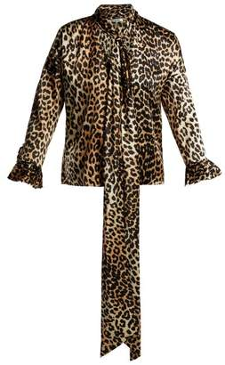 Ganni Calla Leopard Print Silk Blend Blouse - Womens - Leopard