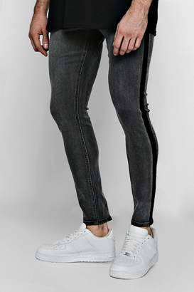 boohoo Super Skinny Jeans with Washed Side Seam
