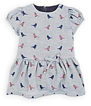 Isabel Garreton Infants' Bird-Print Cotton Dress With Bloomers & Tights-Blue