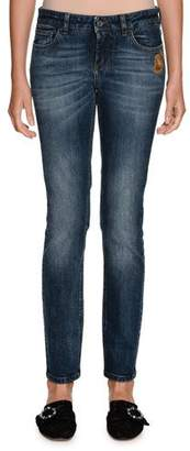 Dolce & Gabbana Sacred Heart Low-Rise Faded Mid-Wash Denim Jeans