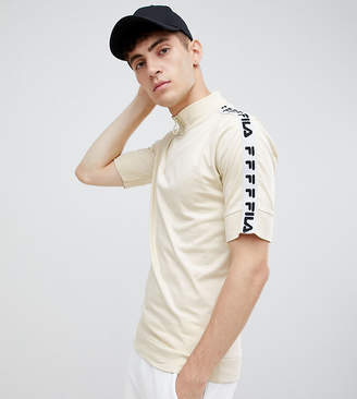 Fila 1/4 zip t-shirt with taping in stone