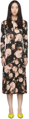Erdem Black and Pink Nolene Dress