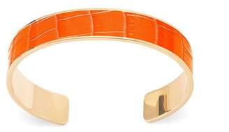 Aspinal of London Cleopatra Skinny Cuff Bracelet In Deep Shine Amber Small Croc