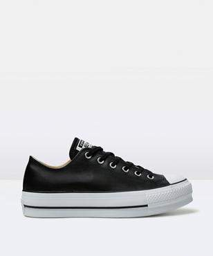 Converse Chuck Taylor All Star Platform Leather Ox Black Shoe