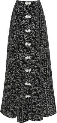 Rebecca de Ravenel Lolita Polka-Dot Silk Maxi Skirt