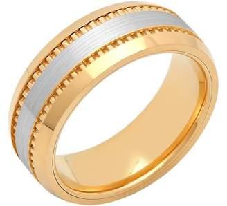 ONLINE Mens Cobalt Two-Tone Yellow IP Milgrain Wedding Band - Mens Ring