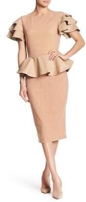 CQ by CQ Contrast Ruffle Layer Sleeve Peplum Midi Dress