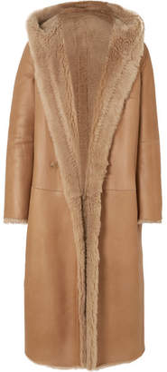 Max Mara Olbia Reversible Hooded Shearling Coat - Beige