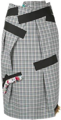 Kolor plaid tape skirt