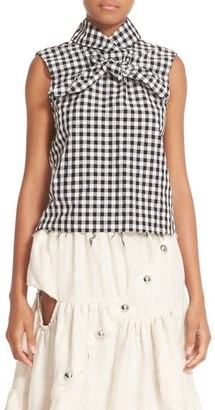 Women's Marques'Almeida High Neck Knotted Gingham Top $260 thestylecure.com