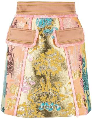 Peter Pilotto floral jacquard metallic skirt